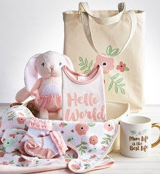 Pretty in Pink 9 pc Mom & Baby Gift Basket