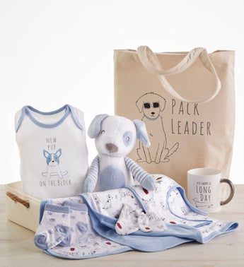 New Pup 9 pc Mom  Baby Gift Basket