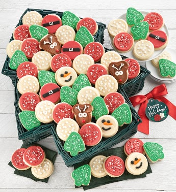 Buttercream Frosted Holiday Tree Shaped Cookie Basket