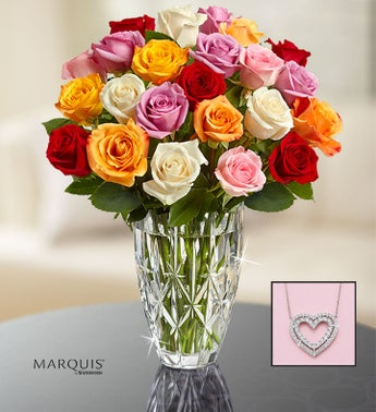 Marquis by Waterford Vase  24 Multi Roses