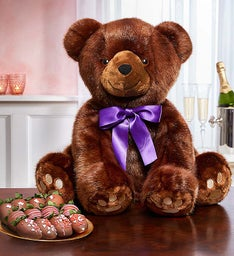 Sable Bear with Chocolate Covered Strawberries