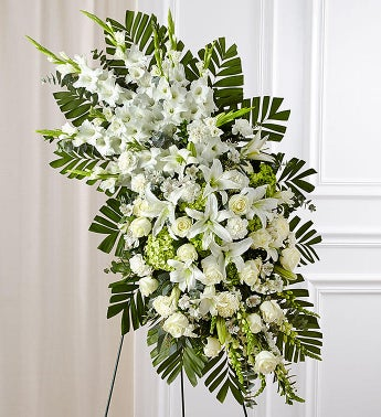 White Rose  Lily Sympathy Standing Spray