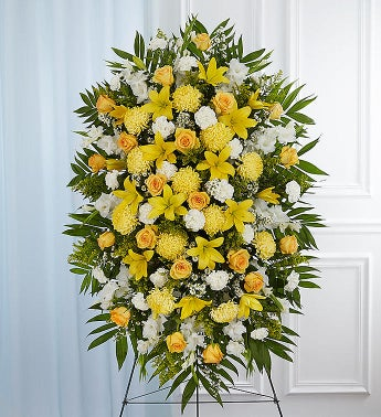 Yellow  White Sympathy Standing Spray