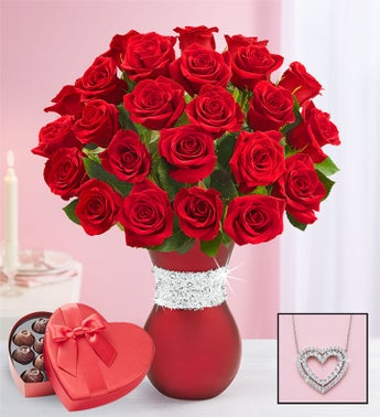 Sparkle Her Day Red Roses
