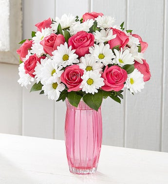 Fair Trade Certified Pink Roses  White Daisies