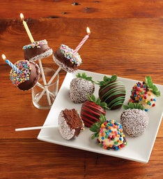 Birthday Chocolate-Covered Strawberries and Brownie Cake Pops