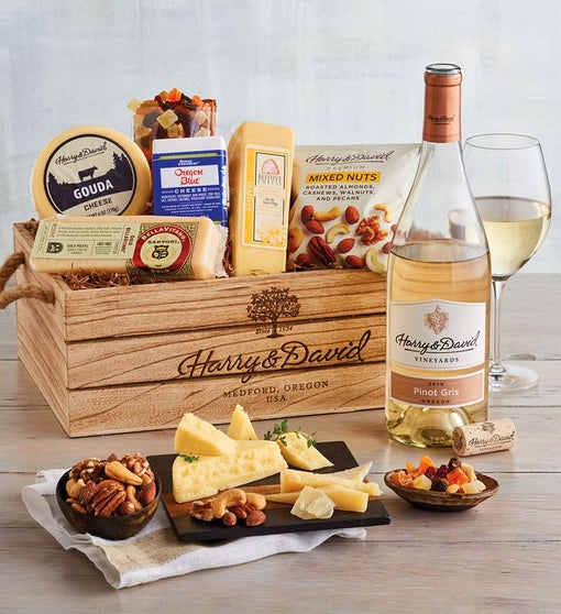 Gourmet Cheese Gift with Wine