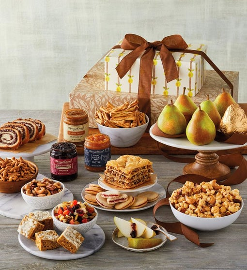 Pears, Sweets, and Snacks Gift Tower