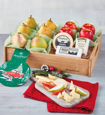 Deluxe Holiday Pears Apples and Cheese Tray