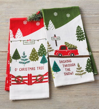 Christmas Farm Print Towels