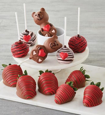 Valentine39s Day Chocolate-Covered Strawberries and Cake Pops