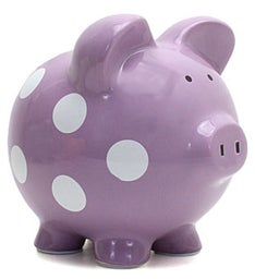 Personalized Hand-Painted Piggy Bank with White Dots - Purple