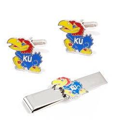 Kansas University Jayhawks Cufflinks and Tie Bar Gift Set