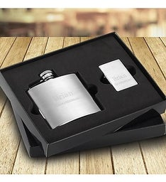 Personalized Brushed Flask and Lighter Gift Set