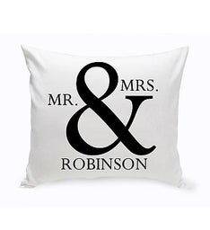 Personalized Mr  Mrs Throw Pillow