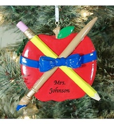 Personalized Teachers Apple Ornament