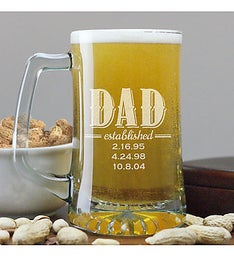 Engraved Dad Established Beer Mug