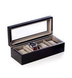 Matte Black Wood 4 Watch Box with Glass Top and Velour Lining  Pillows