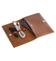 Brown Leatherette Travel Charger Case  Accessories Pouch