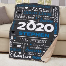Personalized Word Art Graduation Sherpa Blanket