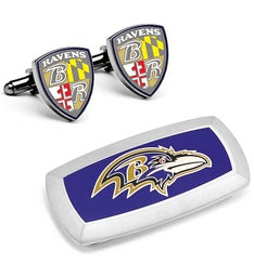 Baltimore Ravens Shield Cufflinks and Money Clip