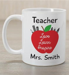 Personalized Teacher Love Learn Inspire Mug