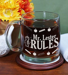 Personalized My Teacher Rules Engraved Glass Mug