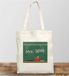 Personalized Teacher Chalkboard Design Canvas Tote