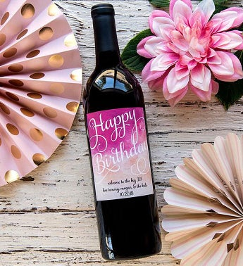 Personalized Rose Gold Birthday Labeled Wine