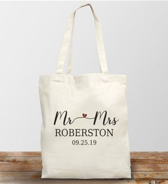 Personalized Mr. and Mrs. Canvas Tote