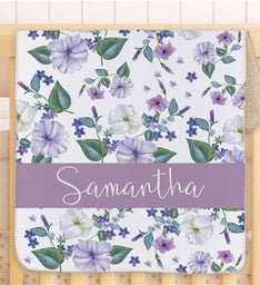 Personalized Petunias Baby Sherpa Blanket Blue
