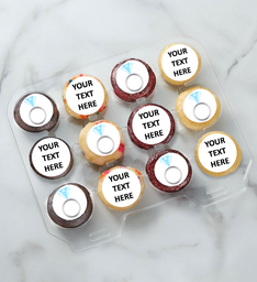12-24 Mini Personalized Text Engagement Ring Cupcakes