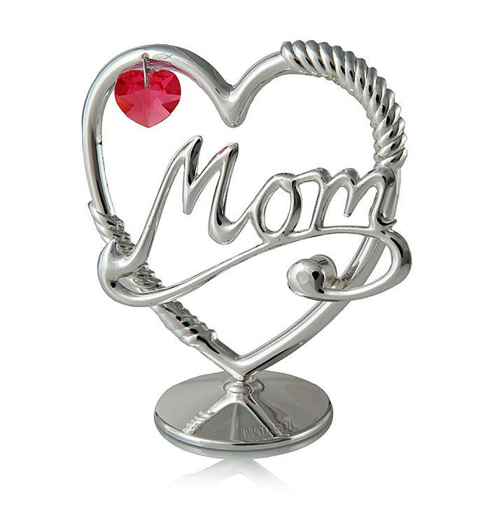 Silver Plated Mom Heart Ornament with Red Crystals