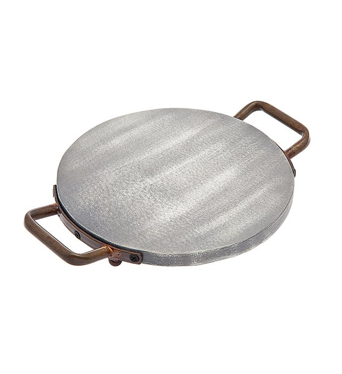 Grey Wash Woodmetal 10 Round Tray