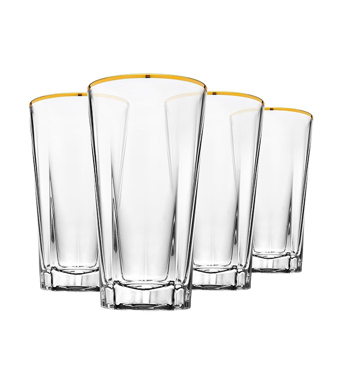 Hudson Highball  Glasses Gold Banded S4 10oz