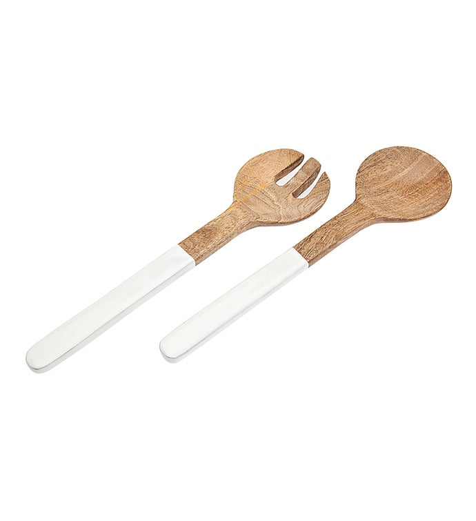 WoodEnamel Salad Servers