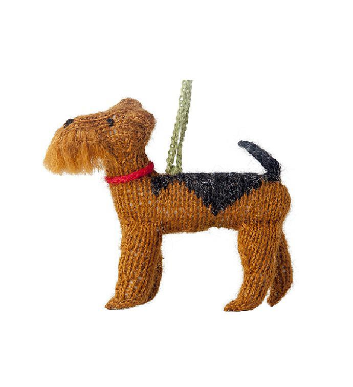 Hand Knit Alpaca Wool Christmas Ornament - Dogs
