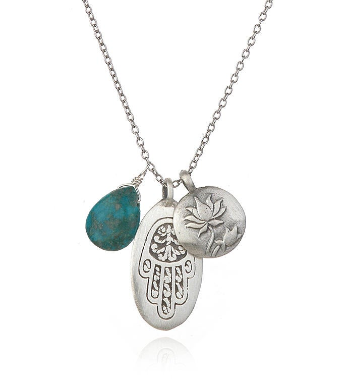 Turquoise Silver Hamsa Lotus Charm Necklace 18-inch