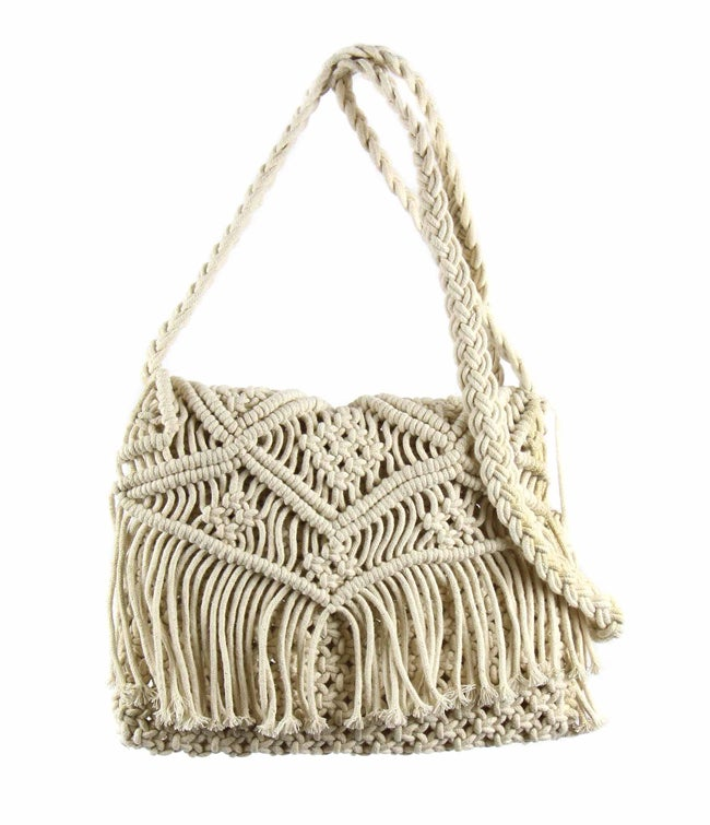 Handwoven Macrame Shoulder Bag Cream