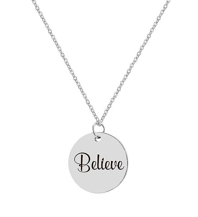 Believe Engraved Stainless Steel Charm Necklace