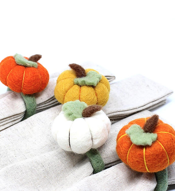 Handmade Felted Wool Napkin Ring Holders Pumpkins