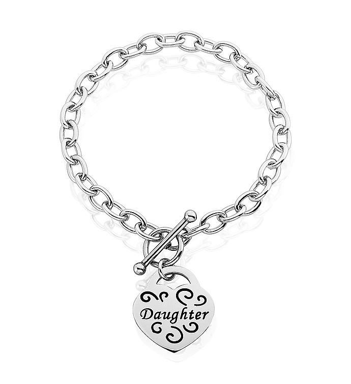 daughter Heart Charm Bracelet