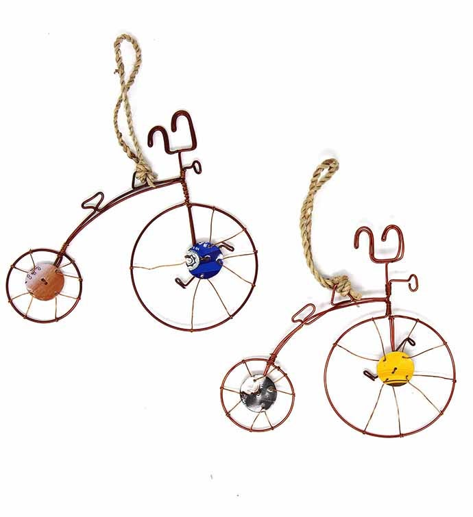 Recycled Wire Handmade Wire Bicycle Ornament