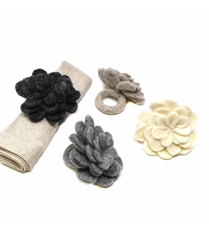 Handcrafted Felt Zinnia Napkin Rings Neutral Mix Colors Set Of 4