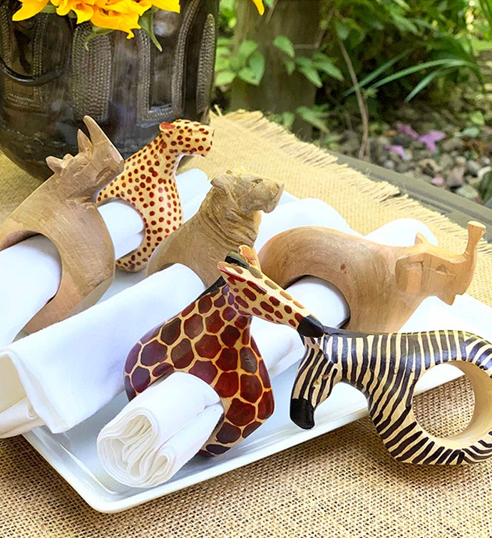 African Mahogany Safari Animal Napkin Rings Set Of 6