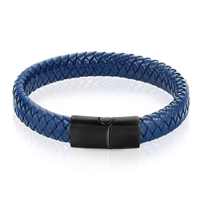 Bold Stainless Steel Braided Leather Bracelet