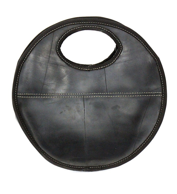Handmade Recycled Tire Rubber Round Clutch Handbag