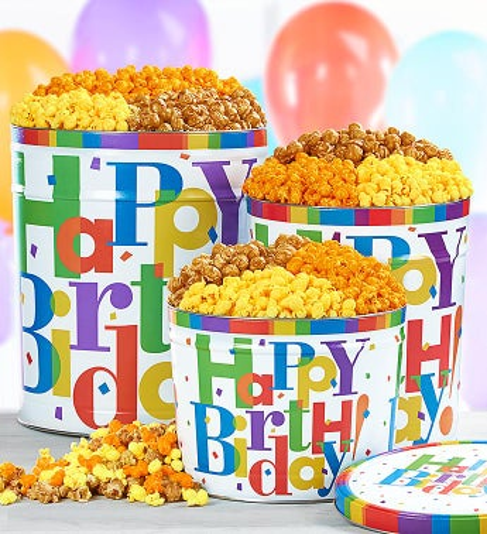 Big Happy Birthday Popcorn Tins