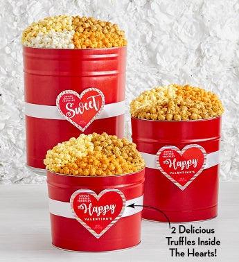Popped Through The Heart Popcorn Tins with Truffles