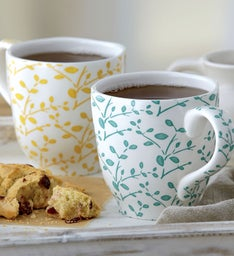 Yellow and Green Stoneware Mug Duo